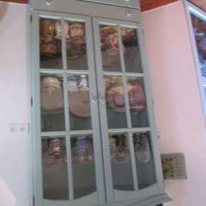 For sale: Pine painted glass kitchen display cabinet. - €50